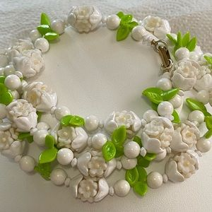 Jewelry - White Flower Lime Green Leaf Fruit Salad Necklace